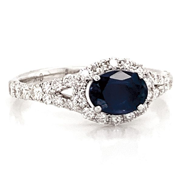 Horizontal Oval Sapphire and Diamond Ring in White Gold Image 2 Bremer Jewelry Peoria, IL