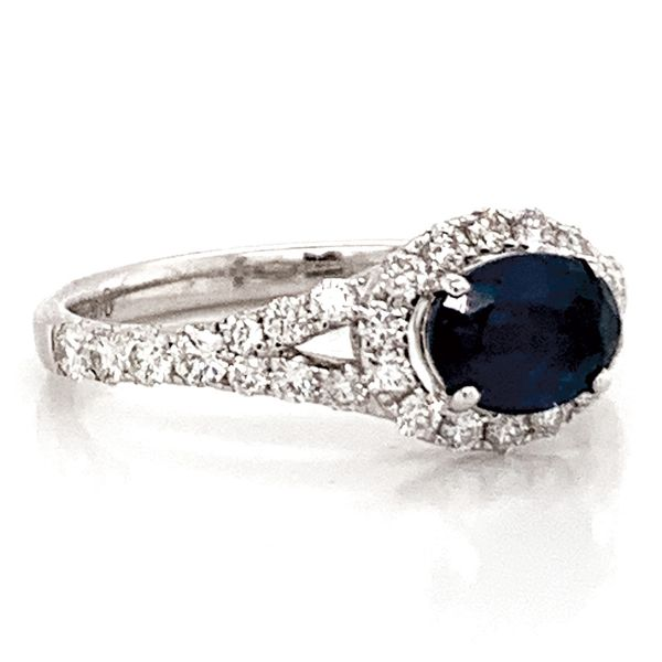 Horizontal Oval Sapphire and Diamond Ring in White Gold Image 3 Bremer Jewelry Peoria, IL