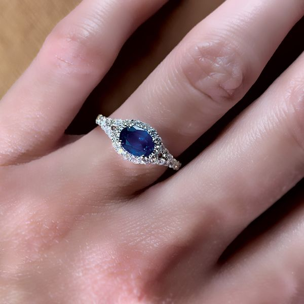 Horizontal Oval Sapphire and Diamond Ring in White Gold Image 4 Bremer Jewelry Peoria, IL