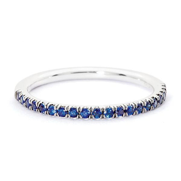 Blue Sapphire Wedding Band in White Gold Image 2 Bremer Jewelry Peoria, IL