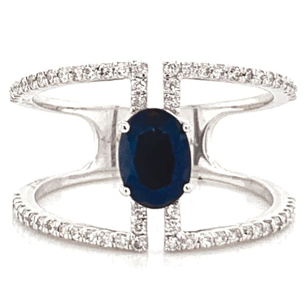 Oval Blue Sapphire and Diamond Geometric Ring in White Gold Bremer Jewelry Peoria, IL