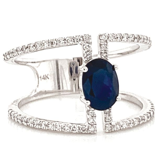 Oval Blue Sapphire and Diamond Geometric Ring in White Gold Image 2 Bremer Jewelry Peoria, IL