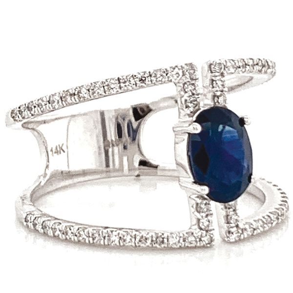 Oval Blue Sapphire and Diamond Geometric Ring in White Gold Image 3 Bremer Jewelry Peoria, IL