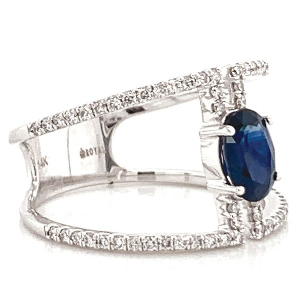 Oval Blue Sapphire and Diamond Geometric Ring in White Gold Image 4 Bremer Jewelry Peoria, IL