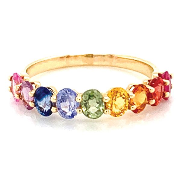 Oval Multi-Color Sapphire Ring in Yellow Gold Bremer Jewelry Peoria, IL