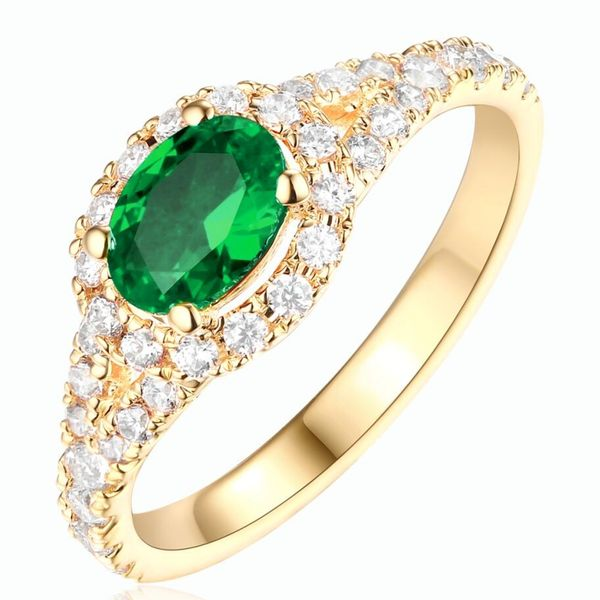 Horizontal Oval Emerald and Diamond Ring in Yellow Gold Bremer Jewelry Peoria, IL