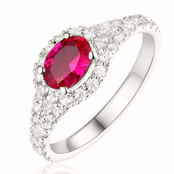 Horizontal Oval Ruby and Diamond Ring in White Gold Bremer Jewelry Peoria, IL