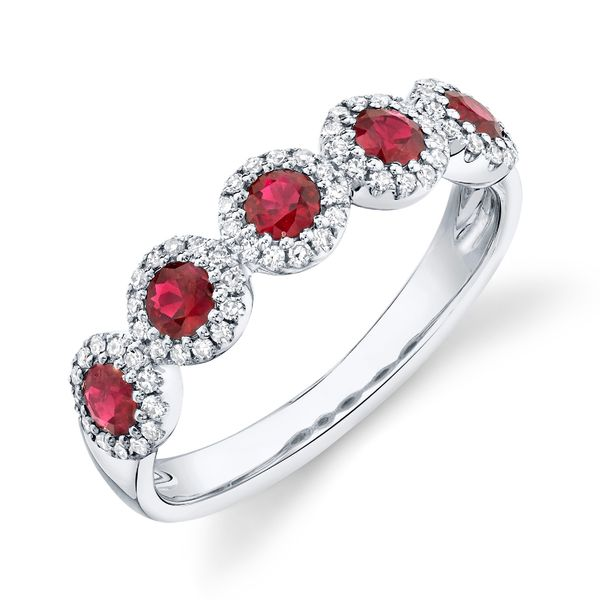 Five-Ruby and Diamond Halo Ring in White Gold Bremer Jewelry Peoria, IL