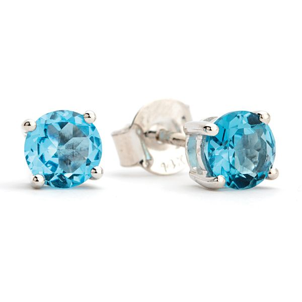 Solitaire Blue Topaz Studs in White Gold Bremer Jewelry Peoria, IL