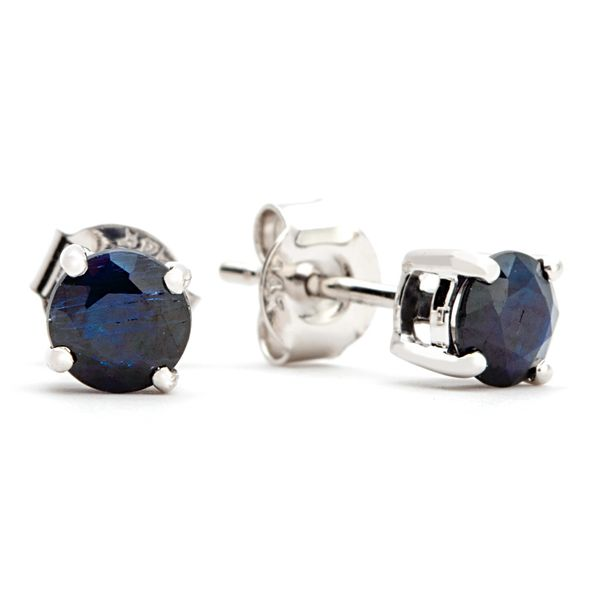 Solitaire Blue Sapphire Studs in White Gold Bremer Jewelry Peoria, IL