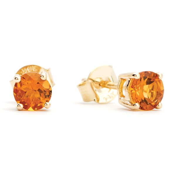 BeColorful Citrine Stud Earrings in Yellow Gold Bremer Jewelry Peoria, IL