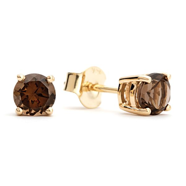 BeColorful Smoky Quartz Stud Earrings in Yellow Gold Bremer Jewelry Peoria, IL