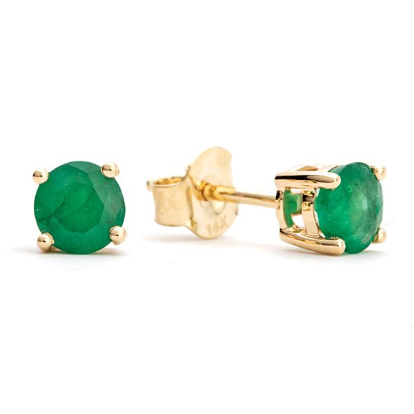 Solitaire Emerald Studs in Yellow Gold Bremer Jewelry Peoria, IL