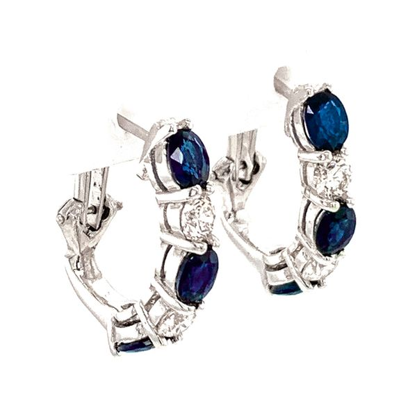 Oval Blue Sapphire and Round Diamond Hoops in White Gold Image 2 Bremer Jewelry Peoria, IL