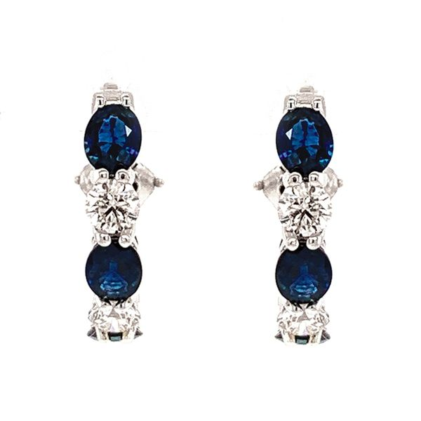 Oval Blue Sapphire and Round Diamond Hoops in White Gold Image 3 Bremer Jewelry Peoria, IL
