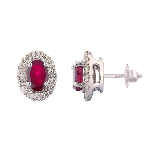 Oval Ruby and Diamond Halo Stud Earrings In White Gold Bremer Jewelry Peoria, IL