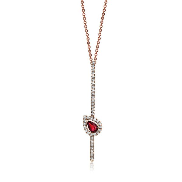 Simon G 18k Rose Gold Ruby and Diamond Necklace Bremer Jewelry Peoria, IL