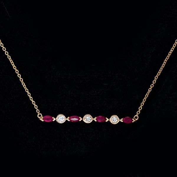 Ruby and Diamond Bar Necklace in Rose Gold Bremer Jewelry Peoria, IL