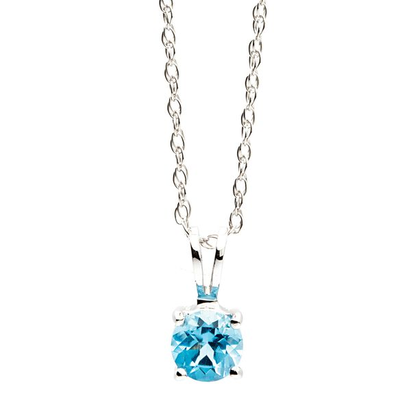 Solitaire Blue Topaz Necklace in White Gold Bremer Jewelry Peoria, IL