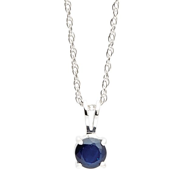 Solitaire Blue Sapphire Necklace in White Gold Bremer Jewelry Peoria, IL