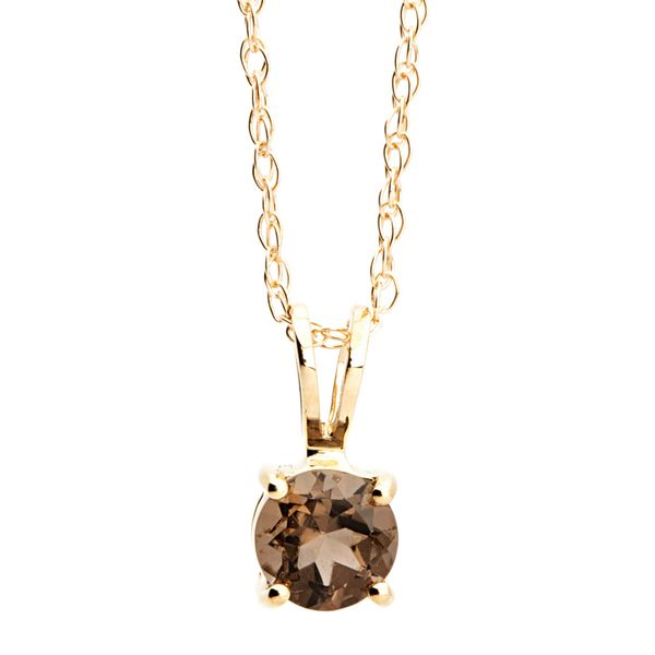 Solitaire Smoky Quartz Necklace in Yellow Gold Bremer Jewelry Peoria, IL