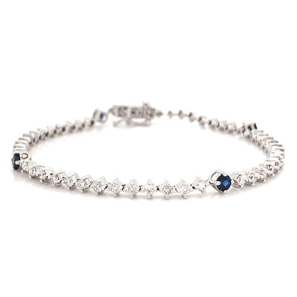 Diamond and Sapphire Tennis Bracelet in White Gold (2.12 ctw) Bremer Jewelry Peoria, IL
