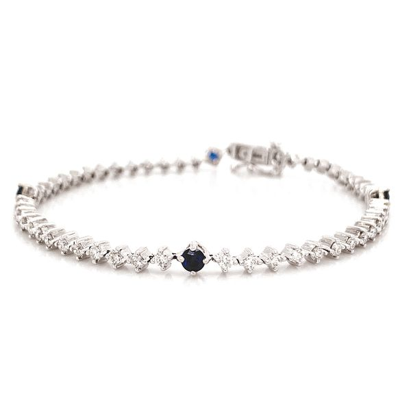 Diamond and Sapphire Tennis Bracelet in White Gold (2.12 ctw) Image 2 Bremer Jewelry Peoria, IL