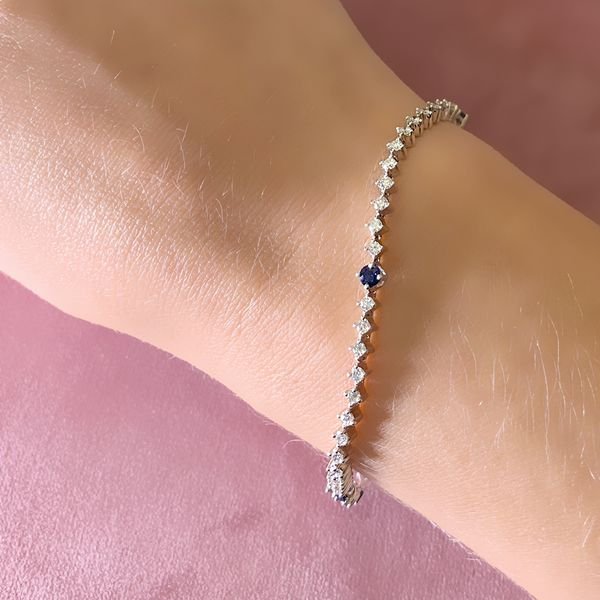 Diamond and Sapphire Tennis Bracelet in White Gold (2.12 ctw) Image 3 Bremer Jewelry Peoria, IL
