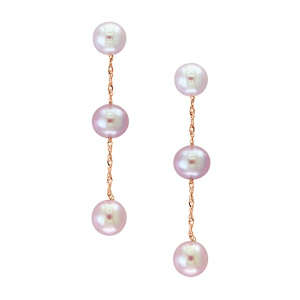 White Pearl Drop Earrings in Rose Gold Bremer Jewelry Peoria, IL