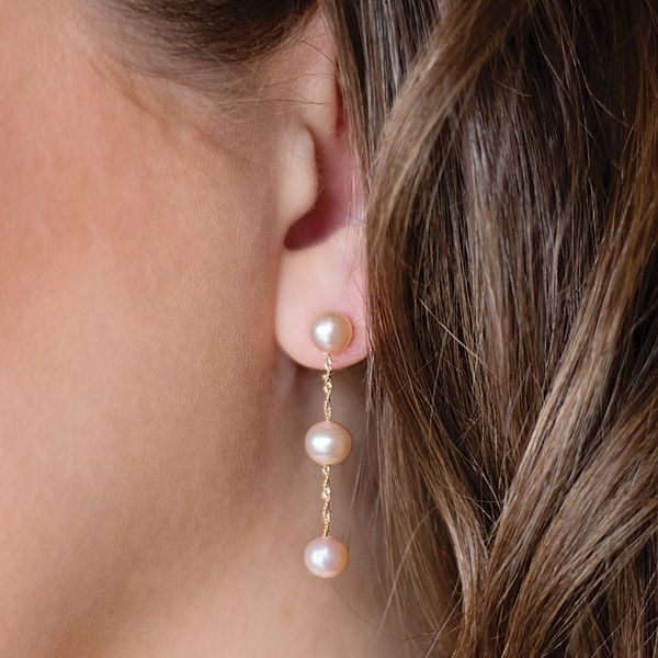 White Pearl Drop Earrings in Rose Gold Image 2 Bremer Jewelry Peoria, IL