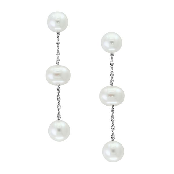 White Pearl Drop Earrings in White Gold Bremer Jewelry Peoria, IL