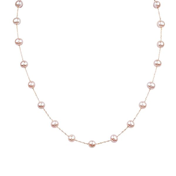 White Pearl Station Necklace in Rose Gold Bremer Jewelry Peoria, IL