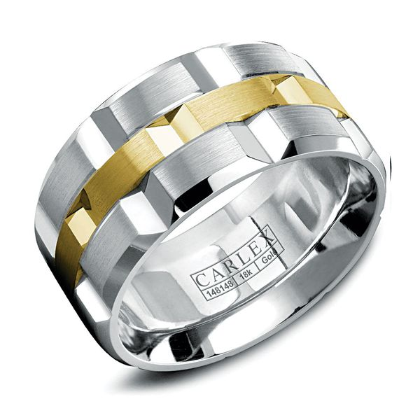 Carlex Two-Tone Wedding Band in White and Yellow Gold Bremer Jewelry Peoria, IL