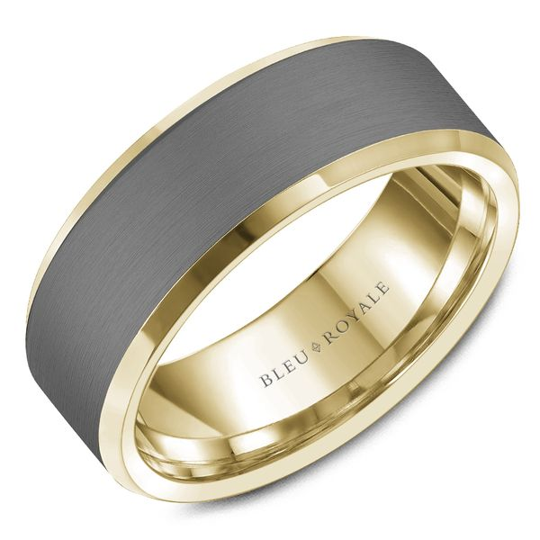 CrownRing Bleu Royale Wedding Band in Tantalum and Yellow Gold Bremer Jewelry Peoria, IL