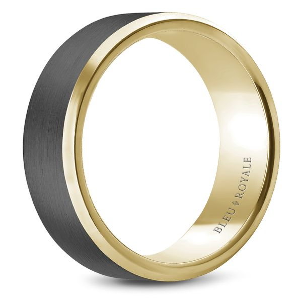 CrownRing Bleu Royale Wedding Band in Tantalum and Yellow Gold Image 2 Bremer Jewelry Peoria, IL