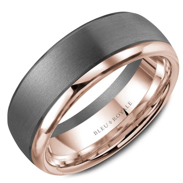 CrownRing Bleu Royale Wedding Band in Tantalum and Rose Gold Bremer Jewelry Peoria, IL