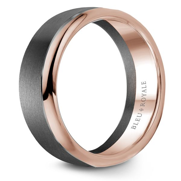 CrownRing Bleu Royale Wedding Band in Tantalum and Rose Gold Image 2 Bremer Jewelry Peoria, IL