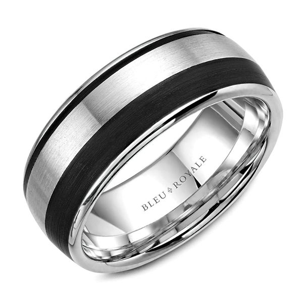 CrownRing Bleu Royale Wedding Band in White Gold and Black Carbon Bremer Jewelry Peoria, IL