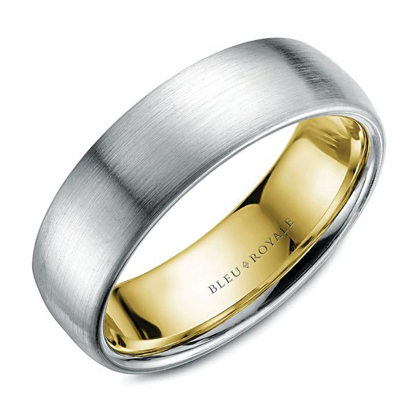 CrownRing Bleu Royale Wedding Band in White and Yellow Gold Bremer Jewelry Peoria, IL