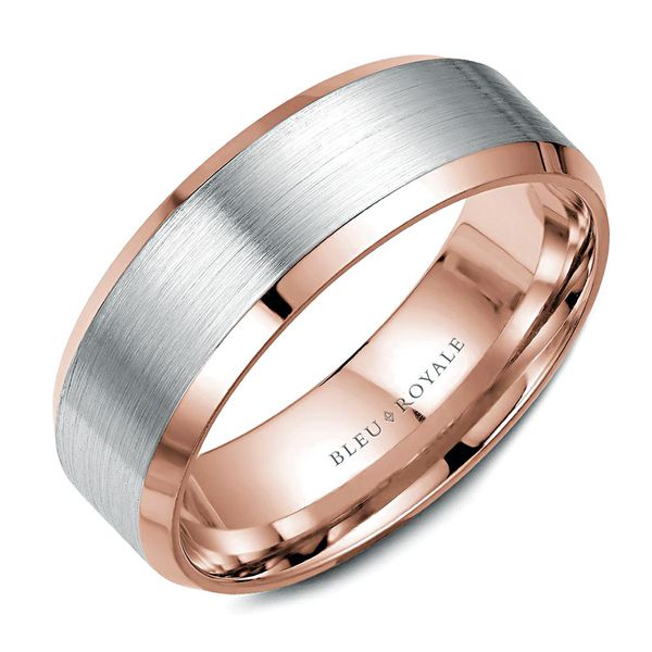 CrownRing Bleu Royale Wedding Band in White and Rose Gold Bremer Jewelry Peoria, IL