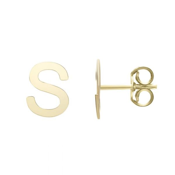 "Small ""S"" Initial Stud in Yellow Gold Bremer Jewelry Peoria, IL"