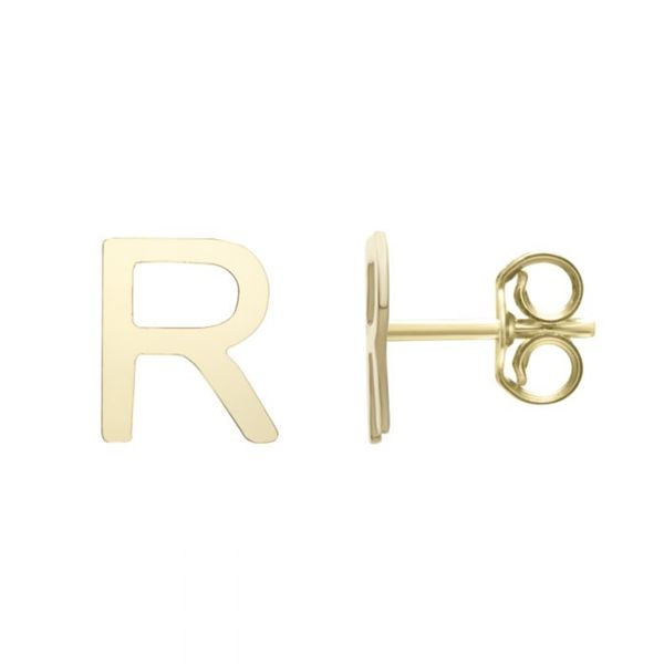 "Small ""R"" Initial Stud in Yellow Gold Bremer Jewelry Peoria, IL"