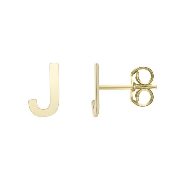 "Small ""J"" Initial Stud in Yellow Gold Bremer Jewelry Peoria, IL"