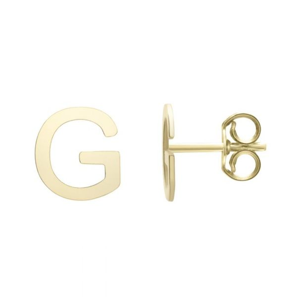 "Small ""G"" Initial Stud in Yellow Gold Bremer Jewelry Peoria, IL"