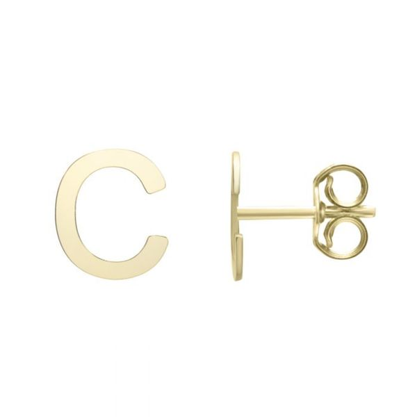"Small ""C"" Initial Stud in Yellow Gold Bremer Jewelry Peoria, IL"