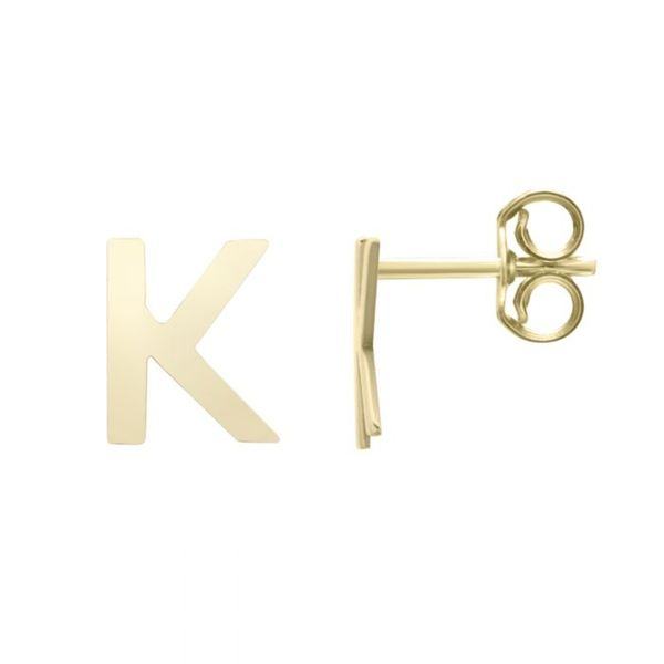 "Small ""K"" Initial Stud in Yellow Gold Bremer Jewelry Peoria, IL"
