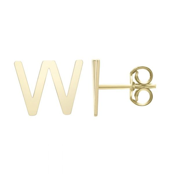 "Small ""W"" Initial Stud in Yellow Gold Bremer Jewelry Peoria, IL"