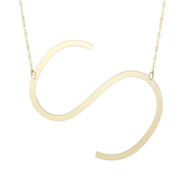 "Large ""S"" Initial Necklace in Yellow Gold Bremer Jewelry Peoria, IL"