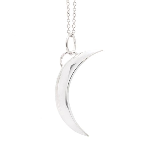To The Moon & Back Crescent Moon Necklace in White Gold Bremer Jewelry Peoria, IL