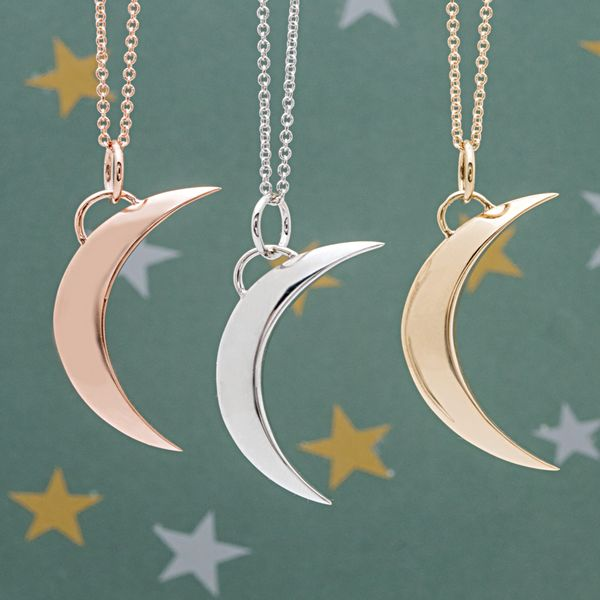 To The Moon & Back Crescent Moon Necklace in White Gold Image 2 Bremer Jewelry Peoria, IL